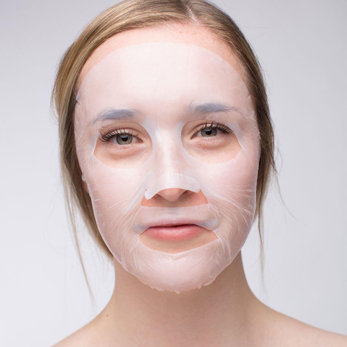 Mask applied to woman's face
