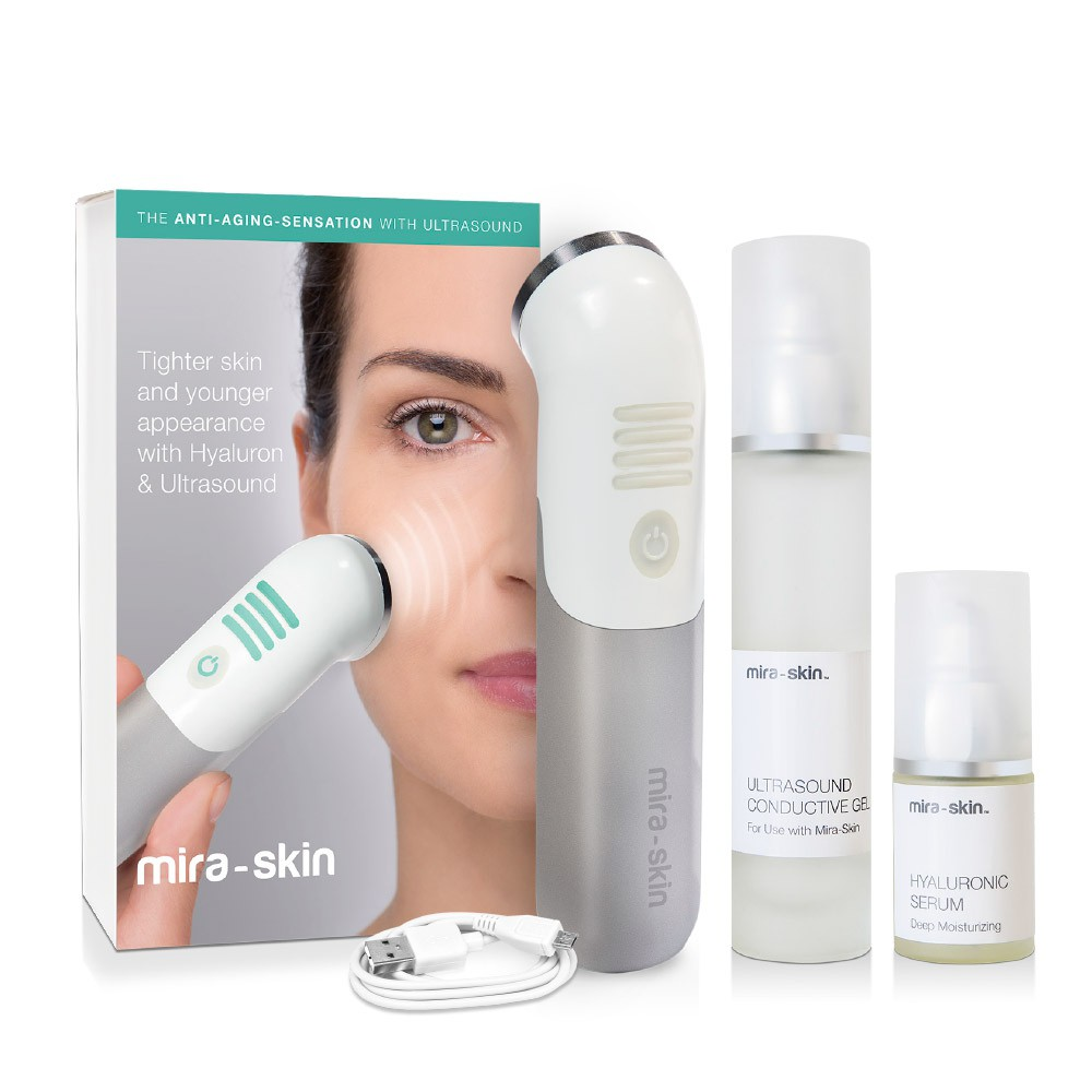 Box Mira-Skin Starter Kit contains the ActiveBooster wand and Ultrasound Conductive Gel plus Hyaluronic Serum