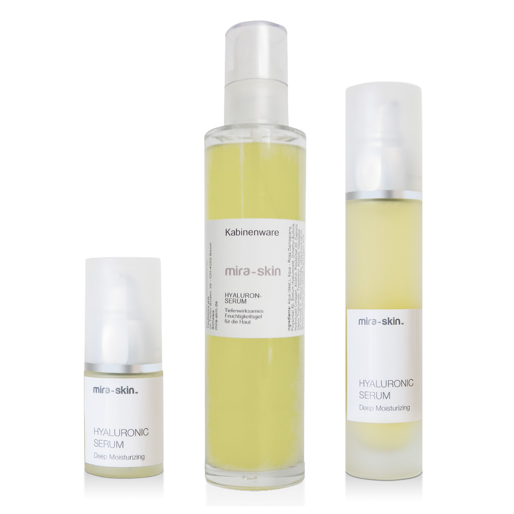 The Mira-Skin Hyaluronic Serum in three product sizes