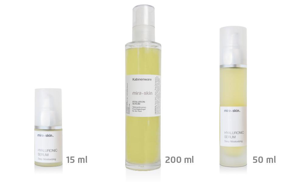 The Mira-Skin Hyaluronic Serum in three product sizes